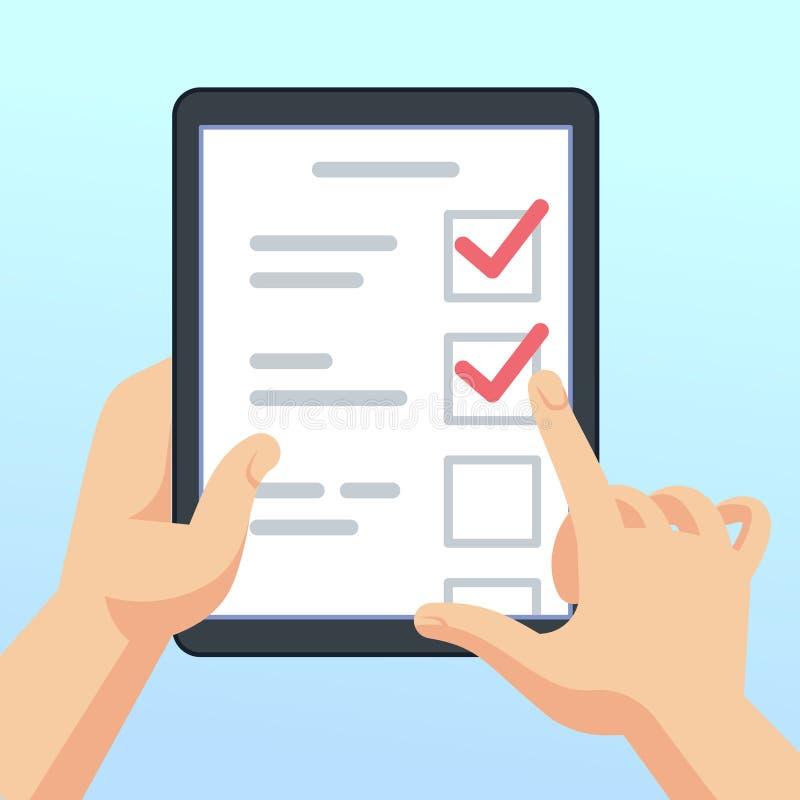 Χέρια που κρατούν την ταμπλέτα με τη σε απευθείας σύνδεση μορφή ερευνών, ερωτηματολόγιο Το κινητό μάρκετινγκ ανατροφοδοτεί τη δια ελεύθερη απεικόνιση δικαιώματος