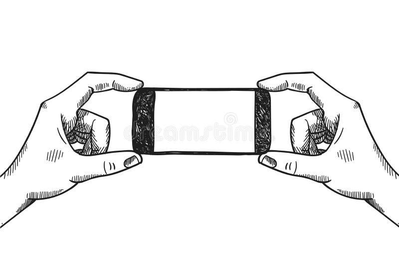 Χέρια που κρατούν την τηλεφωνική διανυσματική γραφική απεικόνιση Παραγωγή της εικόνας, selfie, παρουσίαση του προϊόντος, διαφήμισ απεικόνιση αποθεμάτων