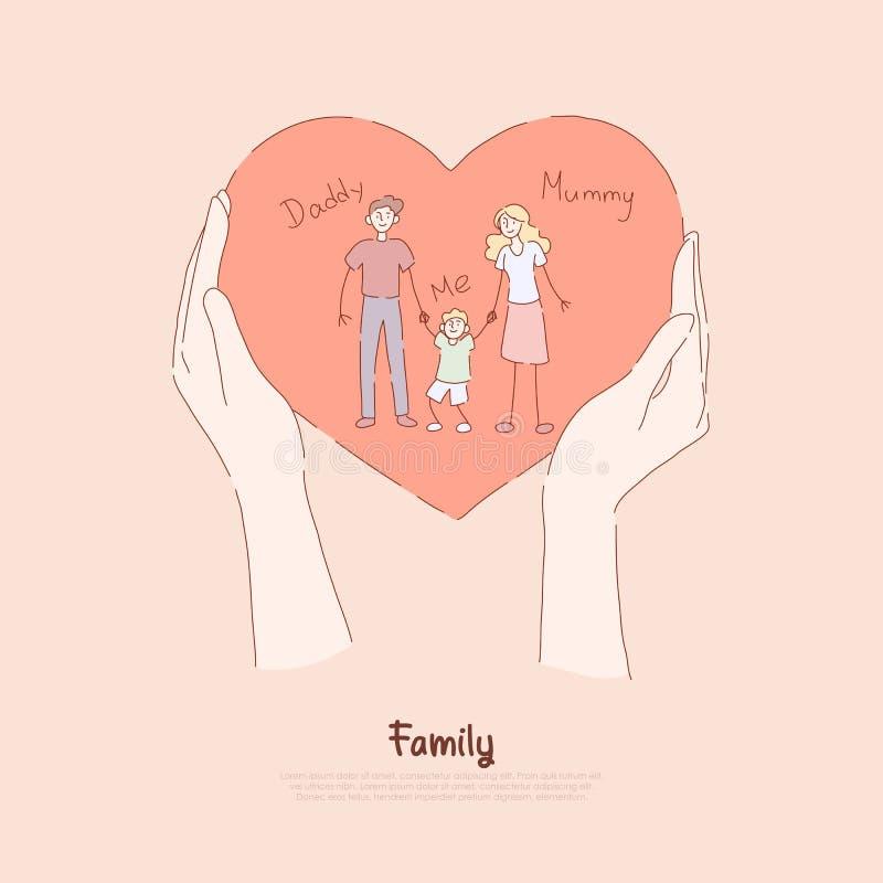 Χέρια που κρατούν τη ευχετήρια κάρτα, το παρόν, ευτυχές ζεύγος διακοπών με το μικρό παιδί, τη μαμά, τον μπαμπά και το γιο, έμβλημ διανυσματική απεικόνιση