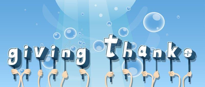 Χέρια που κρατούν τη λέξη που δίνει τις ευχαριστίες διανυσματική απεικόνιση