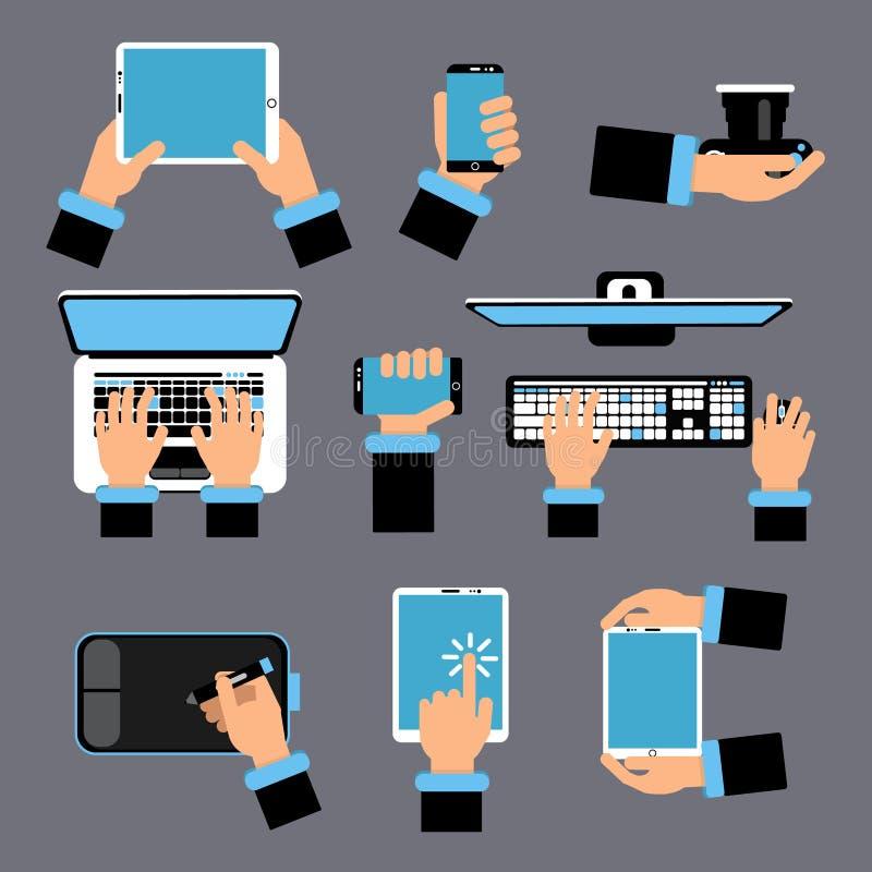Χέρια που κρατούν τις διαφορετικές συσκευές υπολογιστών Lap-top, smartphone, ταμπλέτα και άλλες συσκευές Διανυσματική εικόνα στο  ελεύθερη απεικόνιση δικαιώματος
