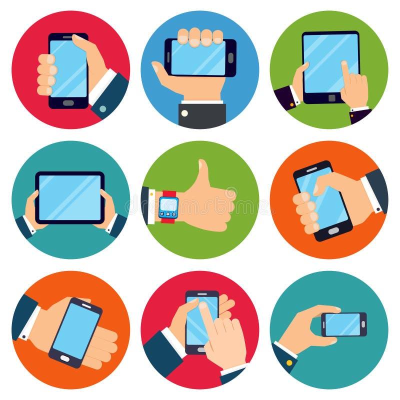 Χέρια που κρατούν τις συσκευές ελεύθερη απεικόνιση δικαιώματος