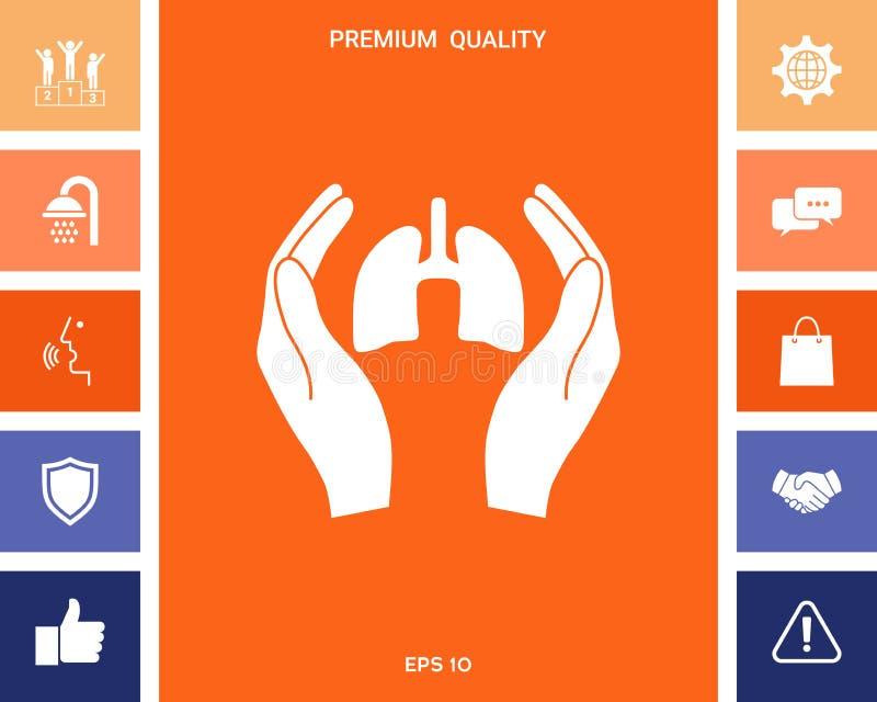 Χέρια που κρατούν τους πνεύμονες - εικονίδιο προστασίας διανυσματική απεικόνιση