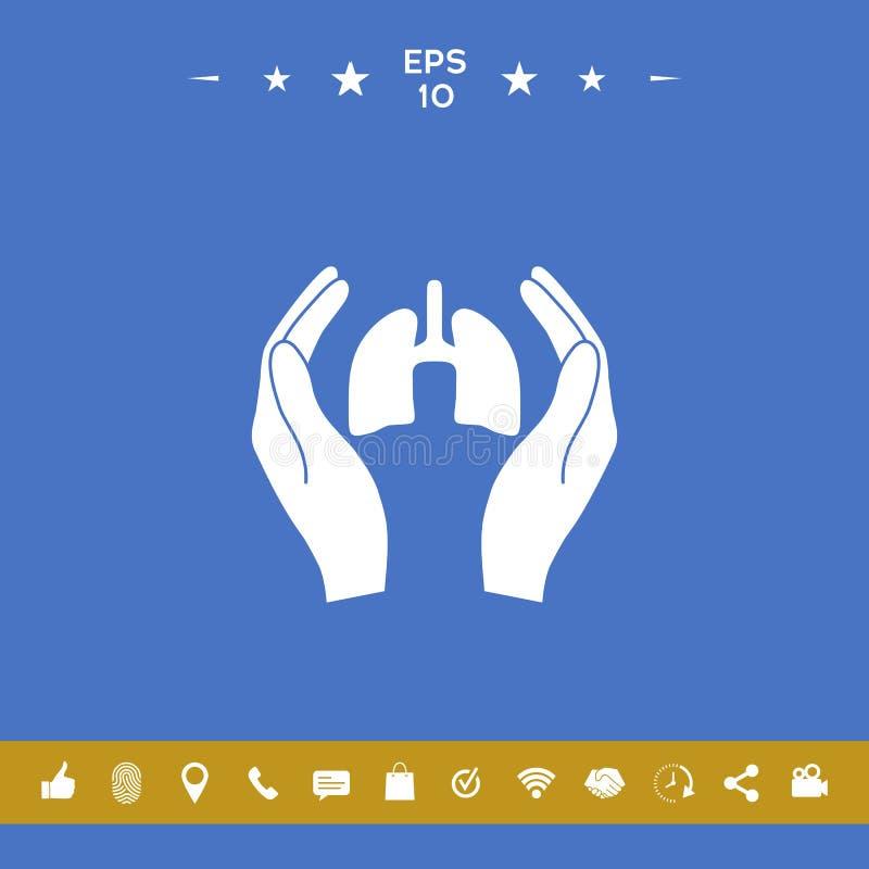 Χέρια που κρατούν τους πνεύμονες - εικονίδιο προστασίας απεικόνιση αποθεμάτων