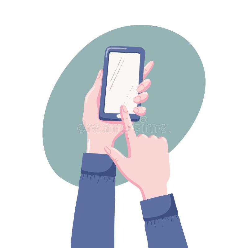 Χέρια που κρατούν το κινητό τηλέφωνο, που δείχνει με το δάχτυλο διανυσματική απεικόνιση