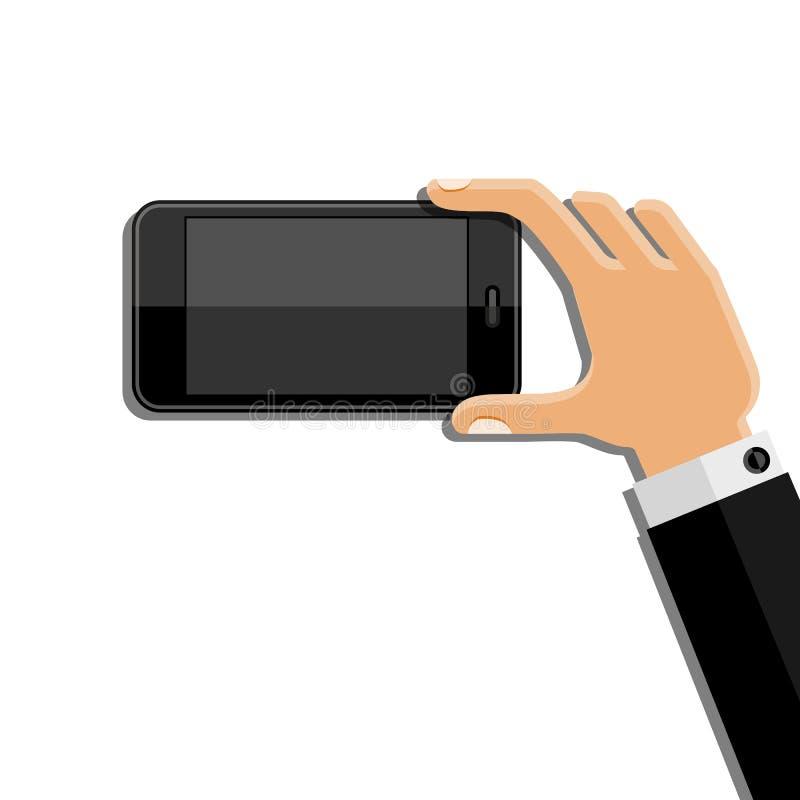Χέρια που κρατούν το κινητό τηλέφωνο Επίπεδο σχέδιο ελεύθερη απεικόνιση δικαιώματος