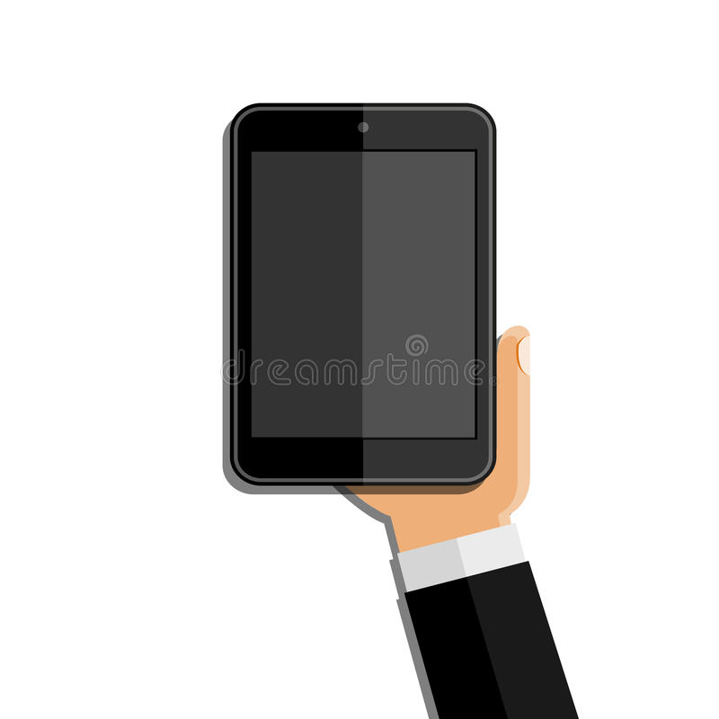 Χέρια που κρατούν το κινητό τηλέφωνο Επίπεδο σχέδιο διανυσματική απεικόνιση