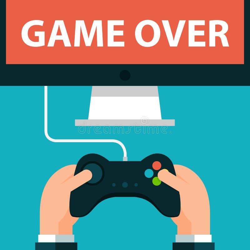 Χέρια που κρατούν το παιχνίδι οθόνης πηδαλίων και οργάνων ελέγχου απεικόνιση αποθεμάτων