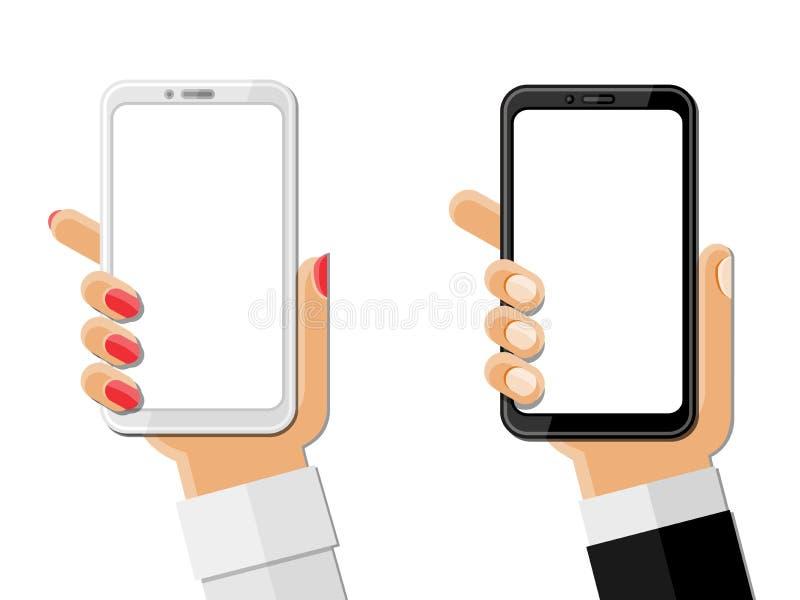 Χέρια που κρατούν smartphones απομονωμένα στο λευκό ελεύθερη απεικόνιση δικαιώματος