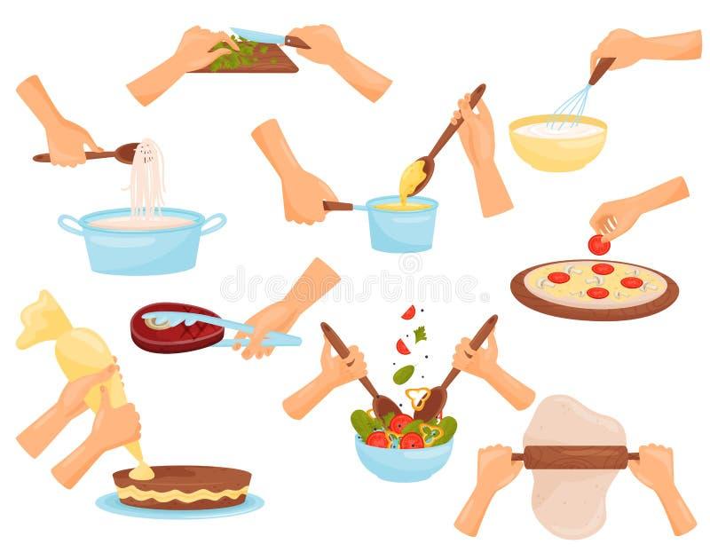 Χέρια που προετοιμάζουν τα τρόφιμα, διαδικασία τα ζυμαρικά, κρέας, πίτσα, διανυσματική απεικόνιση βιομηχανιών ζαχαρωδών προϊόντων ελεύθερη απεικόνιση δικαιώματος