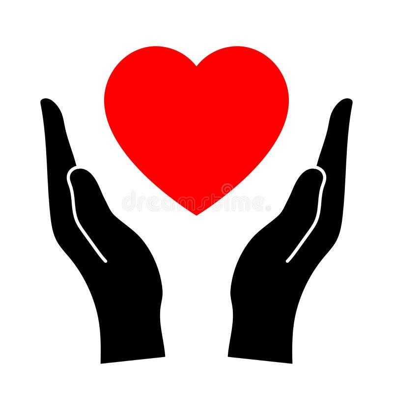 Χέρια που προστατεύουν την καρδιά διανυσματική απεικόνιση