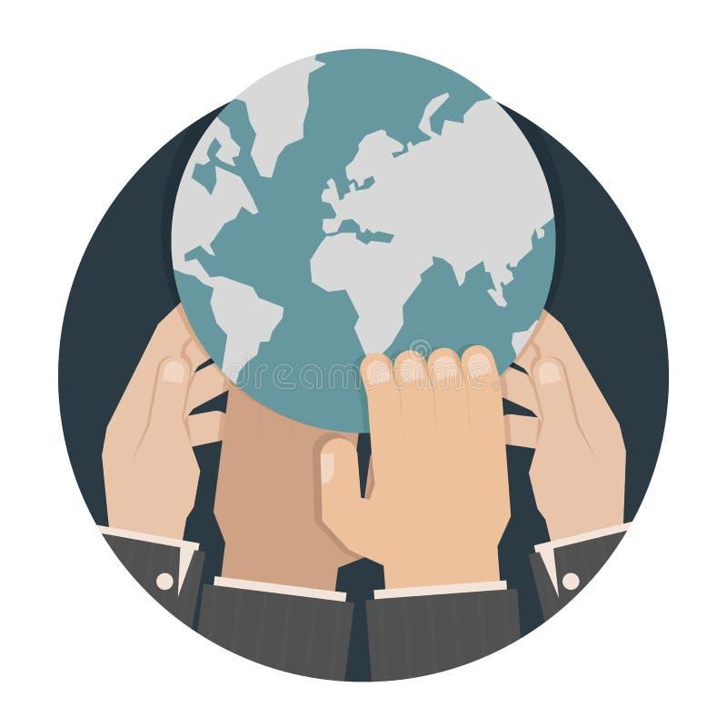 Χέρια που φθάνουν για τον κόσμο απεικόνιση αποθεμάτων