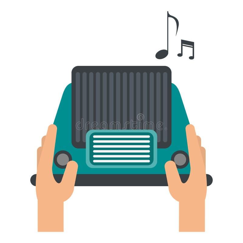 Χέρια που χρησιμοποιούν το αναδρομικό ραδιόφωνο διανυσματική απεικόνιση