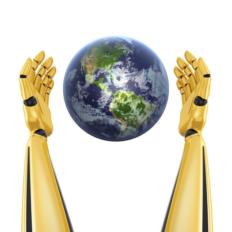 Χέρια ρομπότ γύρω από το πλανήτη Γη ελεύθερη απεικόνιση δικαιώματος