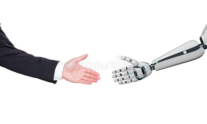 Χέρια ρομπότ επιχειρηματιών στοκ εικόνα