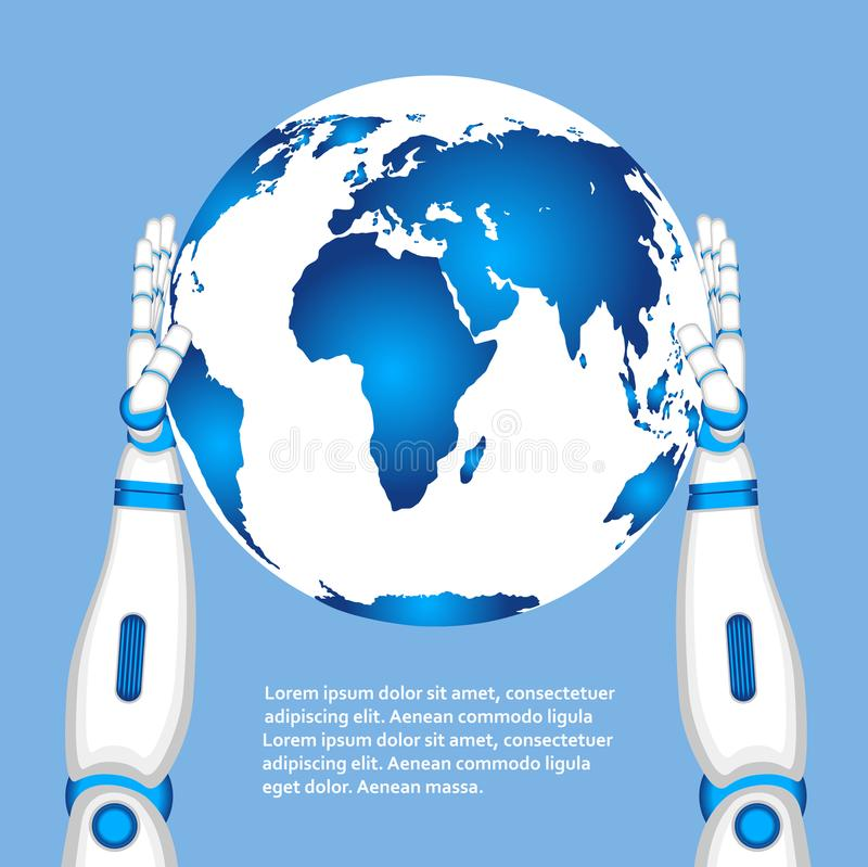 Χέρια ρομπότ που κρατούν την παγκόσμια σφαίρα διανυσματική απεικόνιση