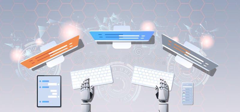 Χέρια ρομπότ συνομιλίας BOT υποστήριξης που χρησιμοποιούν τον υπολογιστή και την κινητή επικοινωνία βοήθειας εφαρμογής εικονική σ ελεύθερη απεικόνιση δικαιώματος