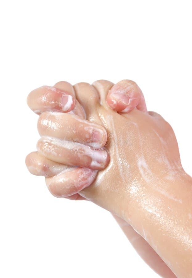 Download χέρια σαπωνώδη στοκ εικόνα. εικόνα από καθαρίστε, suds - 1537399