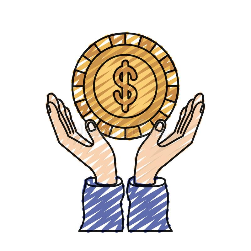Χέρια σκιαγραφιών κραγιονιών χρώματος με το επιπλέον νόμισμα με το σύμβολο δολαρίων μέσα ελεύθερη απεικόνιση δικαιώματος