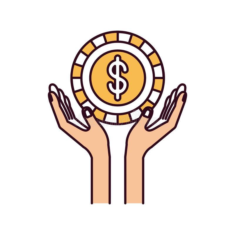Χέρια τμημάτων χρώματος σκιαγραφιών με το επιπλέον νόμισμα με το σύμβολο δολαρίων μέσα απεικόνιση αποθεμάτων