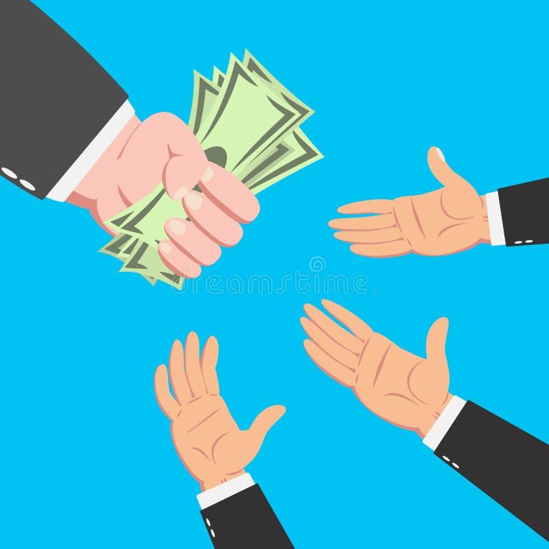 Χέρια του επιχειρηματία που φθάνουν για τα χρήματα διανυσματική απεικόνιση