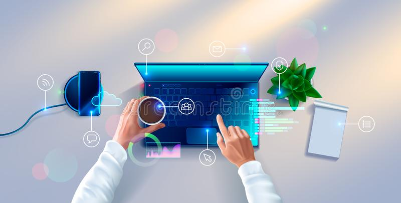 Χέρια του υπεύθυνου για την ανάπτυξη που λειτουργούν στο πληκτρολόγιο της τοπ άποψης lap-top Εργασιακός χώρος του προγραμματιστή διανυσματική απεικόνιση