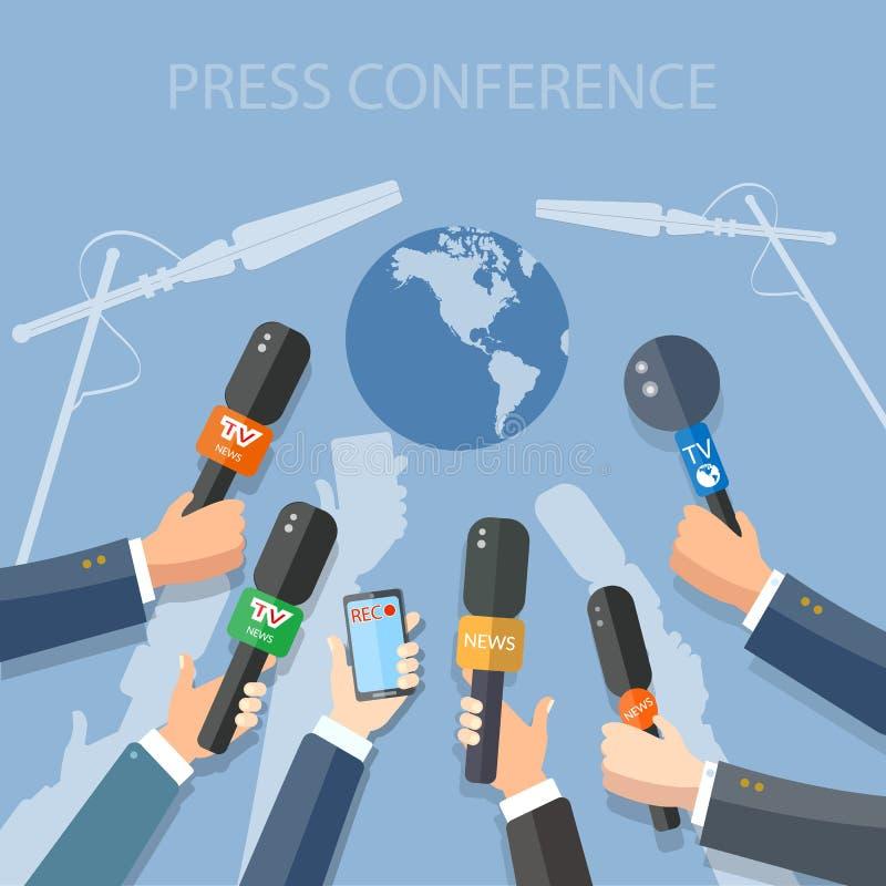 Χέρια Τύπου εκθέσεων παγκόσμιων ζωντανά ειδήσεων των δημοσιογράφων διανυσματική απεικόνιση