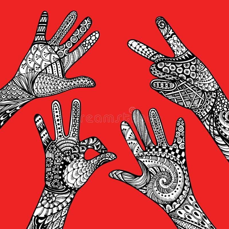 Χέρια χειρονομιών Zentandle στο κόκκινο υπόβαθρο Συρμένο το χέρι διάνυσμα ελεύθερη απεικόνιση δικαιώματος