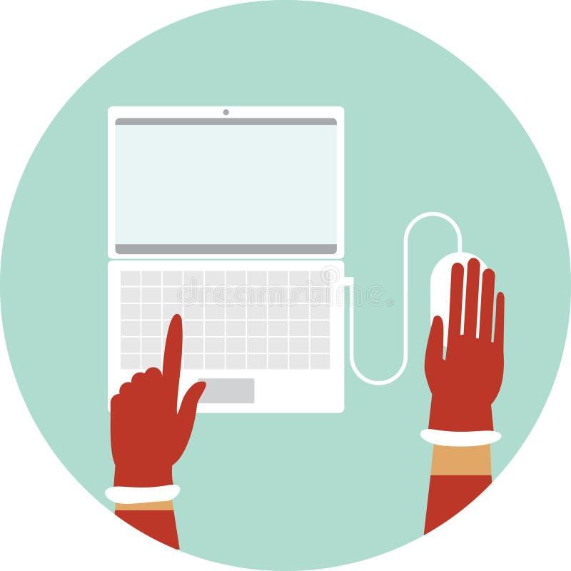 Χέρια Santa με το lap-top ελεύθερη απεικόνιση δικαιώματος