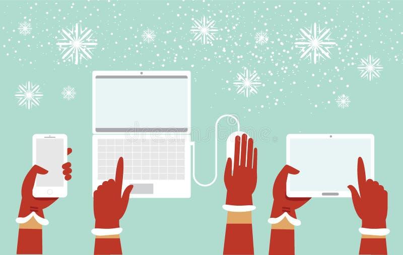 Χέρια Santa που κρατούν τις διάφορες έξυπνες συσκευές διανυσματική απεικόνιση
