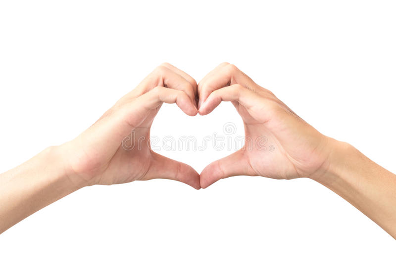 Χέρι ατόμων που καθιστά τη μορφή καρδιών απομονωμένη στο άσπρο υπόβαθρο στοκ εικόνες