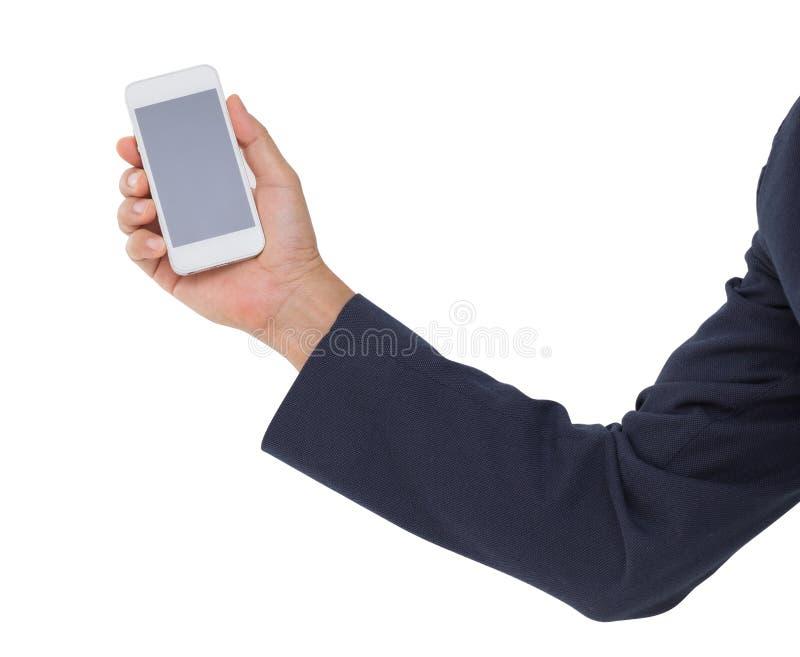 Χέρι ατόμων που κρατά το κινητό τηλέφωνο απομονωμένο στο άσπρο υπόβαθρο στοκ φωτογραφία