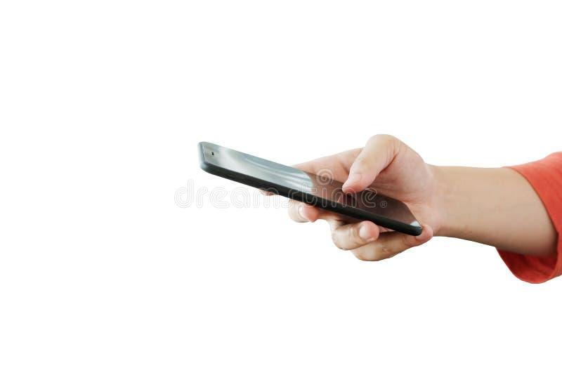 Χέρι ατόμων που χρησιμοποιεί το smartphone που απομονώνεται στο λευκούς υπόβαθρο, τους ανθρώπους και το πρότυπο τεχνολογίας στοκ φωτογραφία