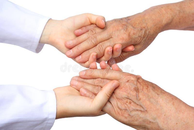 Χέρι βοηθείας δύο που απομονώνεται στοκ φωτογραφία