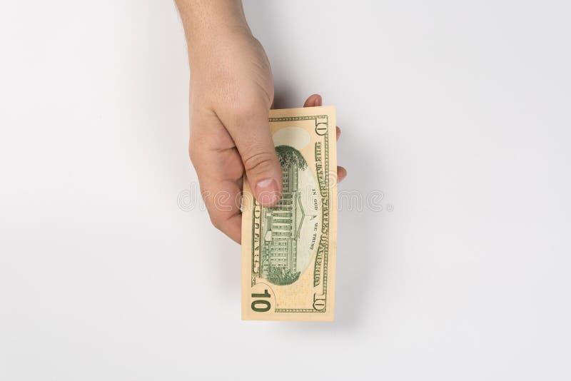 Χέρι γυναικών με τα δολάρια στοκ εικόνες με δικαίωμα ελεύθερης χρήσης