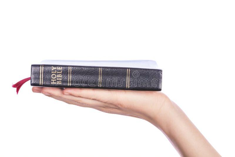 Χέρι γυναικών που κρατά την ιερή Βίβλο στο άσπρο υπόβαθρο στοκ εικόνα