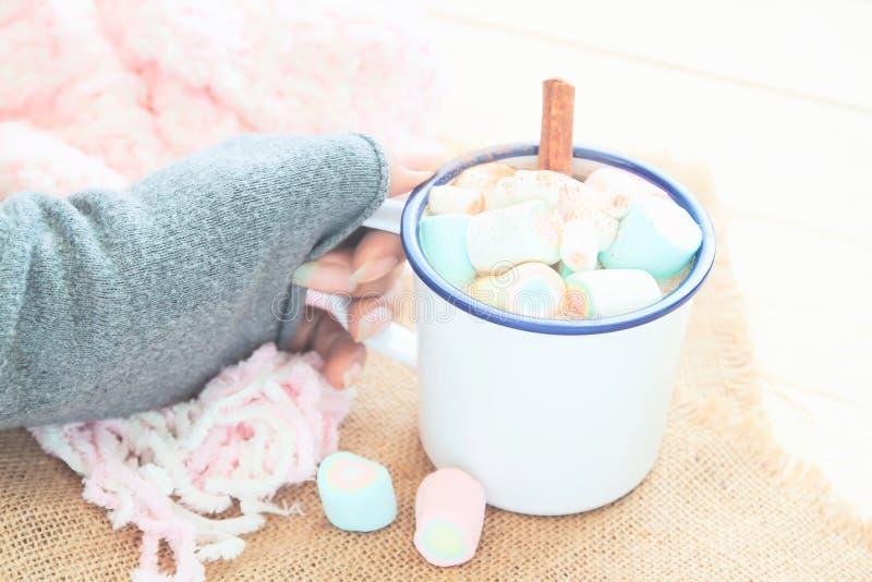 Χέρι γυναικών που κρατά την καυτή σοκολάτα με marshmallows Άνετος χειμώνας, τόνος χρώματος κρητιδογραφιών στοκ εικόνες