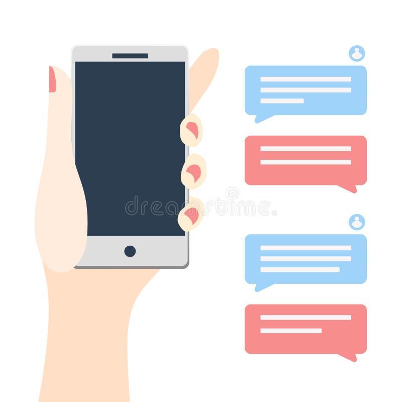 Χέρι γυναικών που κρατά το κινητό τηλέφωνο με τις λεκτικές φυσαλίδες απεικόνιση αποθεμάτων
