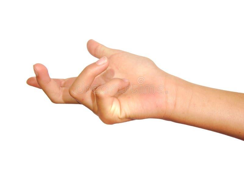 Χέρι γυναικών που νεύει ή που καλεί το λευκό που απομονώνεται στοκ εικόνα