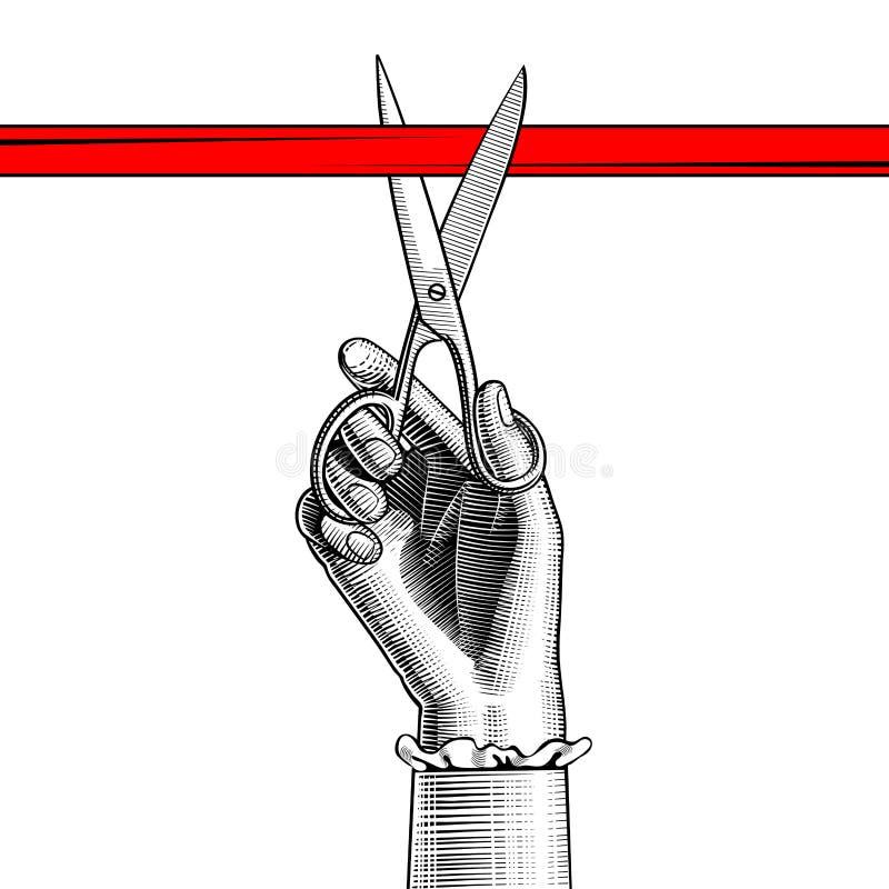 Χέρι γυναικών ` s με το ψαλίδι που κόβει την κόκκινη κορδέλλα διανυσματική απεικόνιση