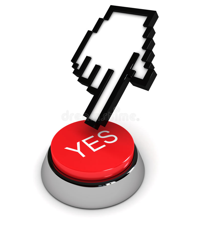χέρι δρομέων κουμπιών ναι ελεύθερη απεικόνιση δικαιώματος