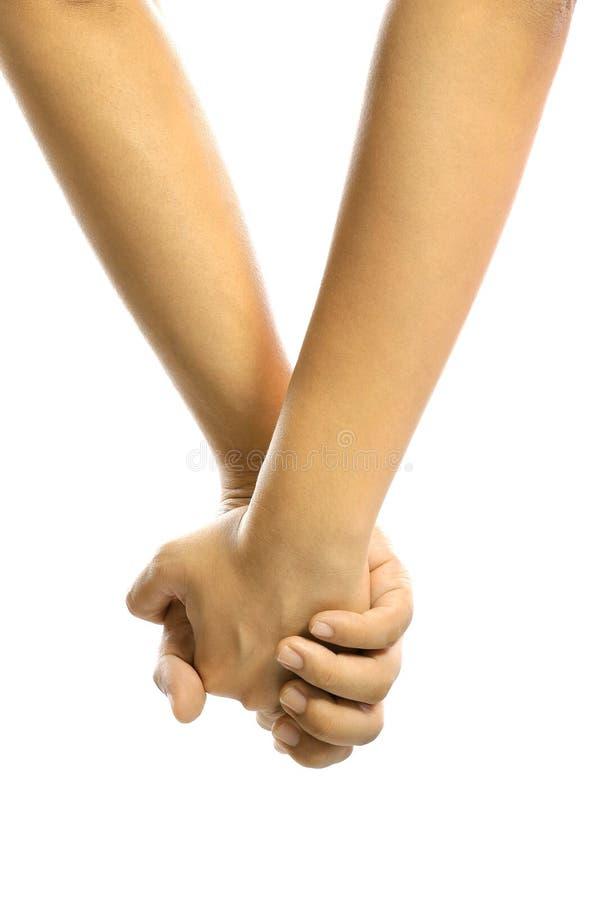Χέρι εκμετάλλευσης ανδρών και γυναικών από κοινού στοκ εικόνες