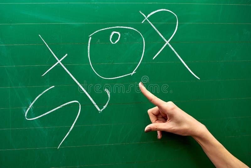 Χέρι ενός νέου κοριτσιού που δείχνει στη ΣΤΑΣΗ λέξης στον πράσινο σχολικό πίνακα στοκ εικόνα