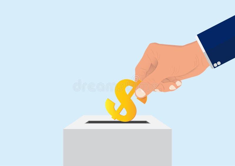 Χέρι επιχειρηματία που βάζει το σημάδι δολαρίων στο κιβώτιο, έννοια δωρεάς ελεύθερη απεικόνιση δικαιώματος