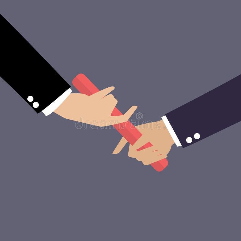 Χέρι επιχειρηματιών που περνά το μπαστούνι σε μια φυλή ηλεκτρονόμων απεικόνιση αποθεμάτων