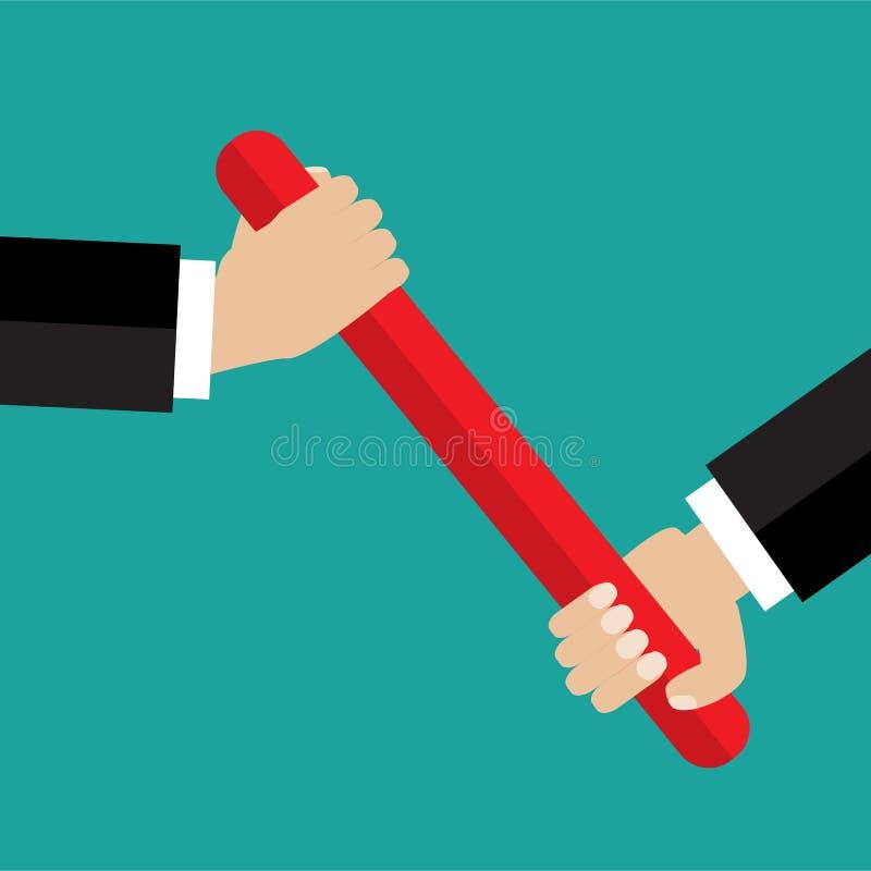 Χέρι επιχειρηματιών που περνά το μπαστούνι σε μια φυλή ηλεκτρονόμων ελεύθερη απεικόνιση δικαιώματος