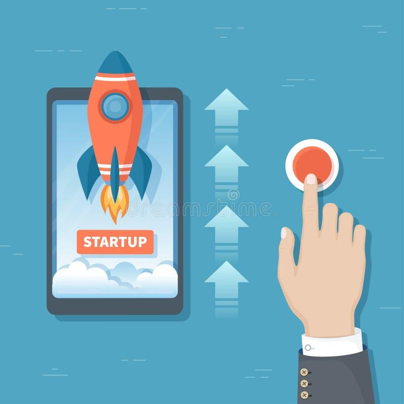 Χέρι επιχειρηματιών που ωθεί το κουμπί για να προωθήσει τον πύραυλο από την τηλεφωνική οθόνη Ξεκίνημα επιχειρησιακού προγράμματος διανυσματική απεικόνιση