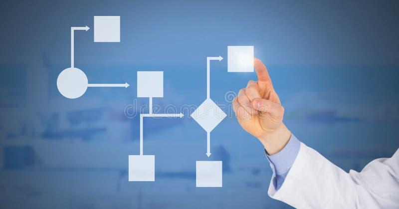 Χέρι εργαστηριακών γιατρών σχετικά με το άσπρο wireframe στοκ φωτογραφία με δικαίωμα ελεύθερης χρήσης
