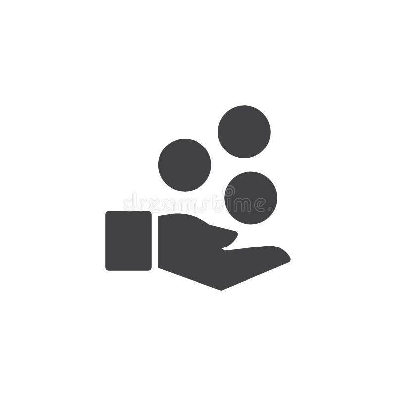 Χέρι και διανυσματικό εικονίδιο νομισμάτων απεικόνιση αποθεμάτων