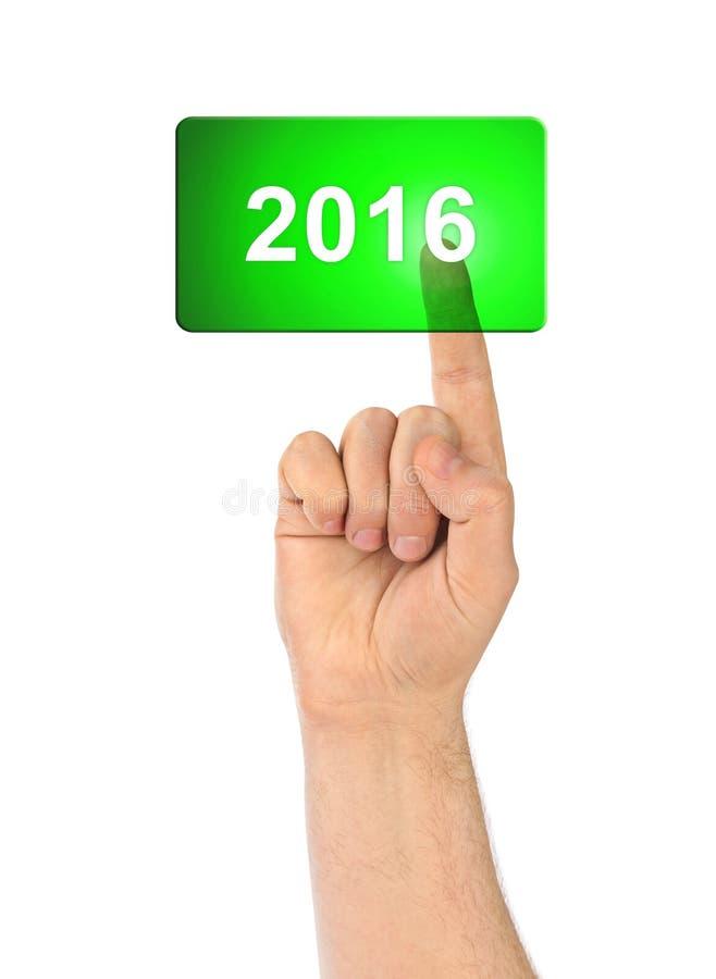 Download Χέρι και κουμπί 2016 στοκ εικόνες. εικόνα από ευτυχής - 62702516